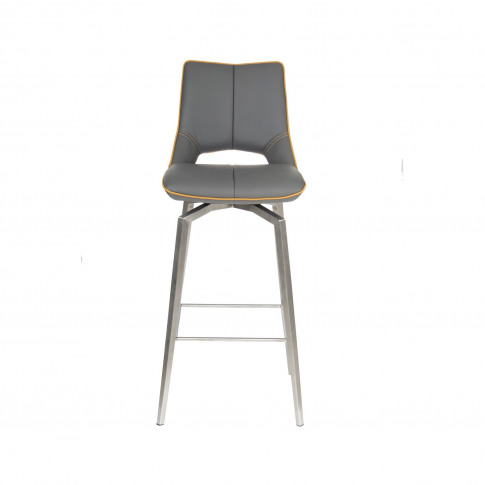 Carseat Grey Faux Leather Bar Stool