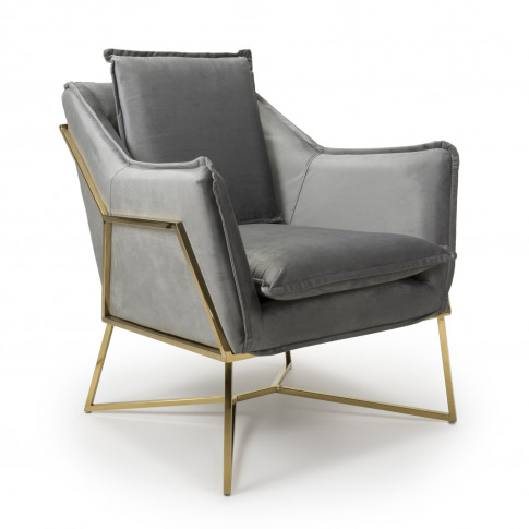 London Brushed Velvet Grey Armchair