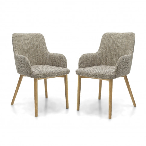 Shankar Sidcup Pair Of Oatmeal Tweed Dining Chairs