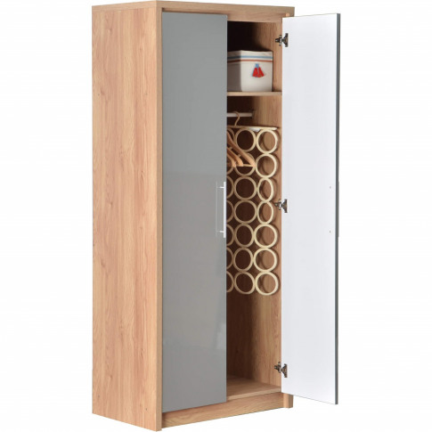 Seconique Seville 2 Door Wardrobe In Light Oak/Grey ...