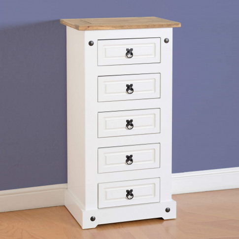 Seconique Corona White 5 Drawer Narrow Chest Of Drawers