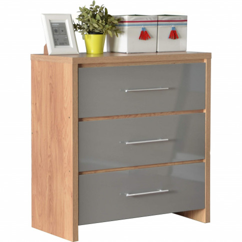 Seconique Seville 3 Drawer Chest In Light Oak/Grey H...