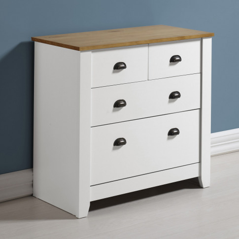 Seconique Ludlow 2+2 Chest Of Drawers In White And Oak
