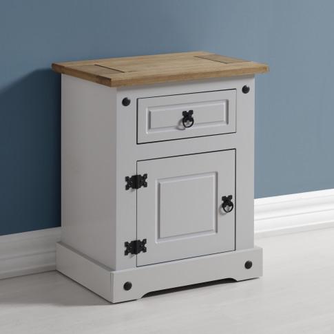 Corona 1 Drawer 1 Door Bedside Table In Grey/Distres...