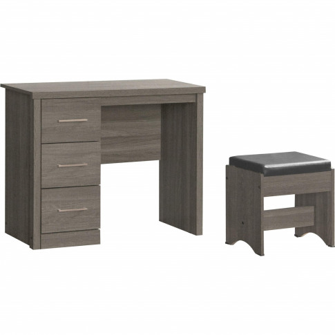 Seconique Lisbon 3 Drawer Dressing Table Set In Blac...