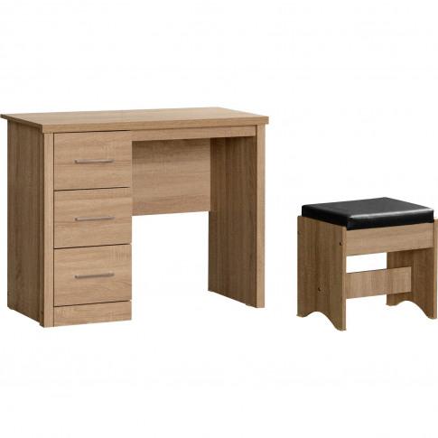 Lisbon 3 Drawer Dressing Table Set In Light Oak Effect