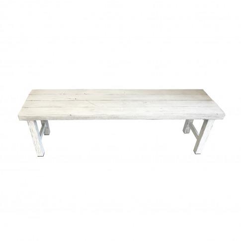 Natural White Wooden Garden Dining Bench
