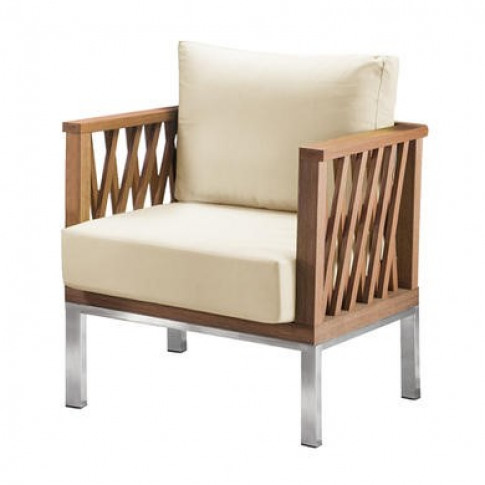 Marka Wooden Garden Chair with Cream Cushions
