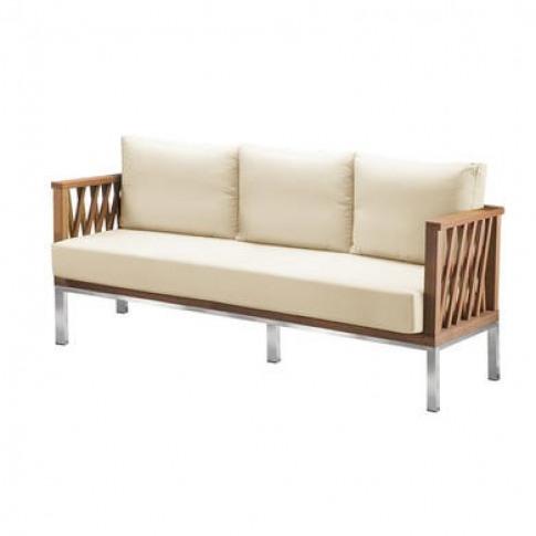 Marka Wooden Garden Sofa with Cream Cushions - Seats 3