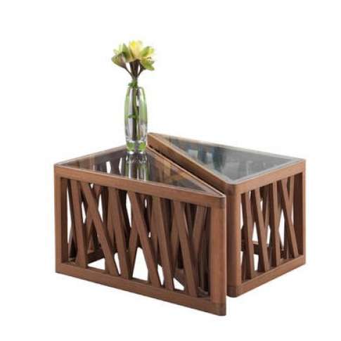 Marka Wooden Split Garden Table with Glass Top