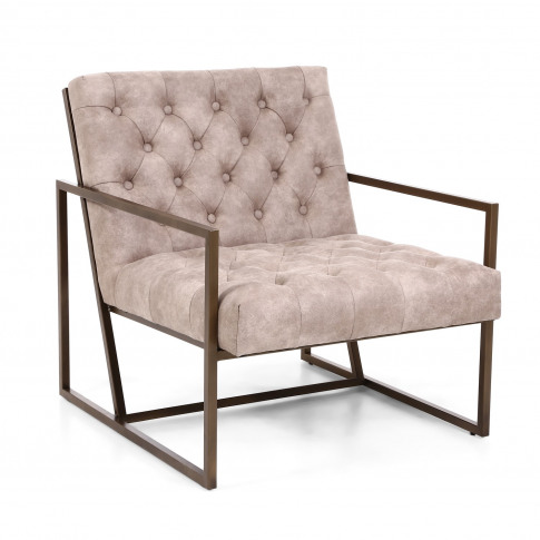 Monaco Beige Armchair With Suede Effect Back Button ...