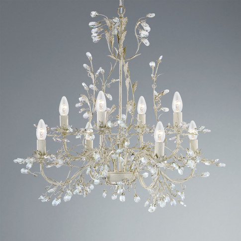 Crystal Chandelier With 8 Lights And Gold Finish - A...