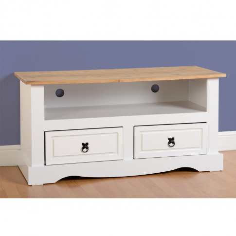 White Tv Unit With Drawers & Open Shelf Tv's Up To 42 - Corona
