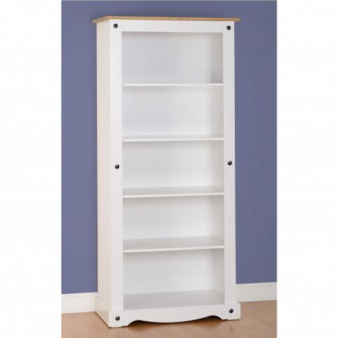 Bookcase In White & Pine Top - Corona