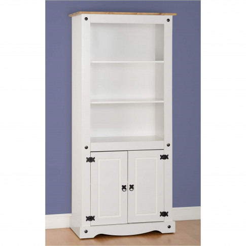 White Bookcase In Pine With 2 Cupboards - Corona