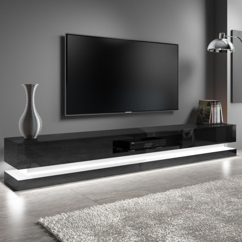 Extra Large Black Gloss Tv Stand With Leds- Tv's Up ...