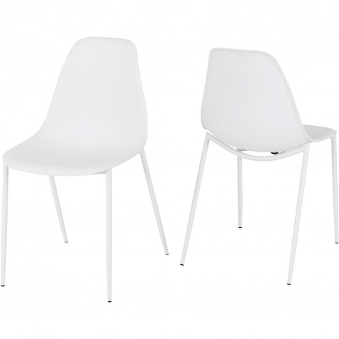 Lindon Plastic White Pair Of Dining Chair's