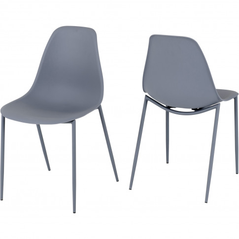 Lindon Plastic Grey Dining Chair Set Of 2