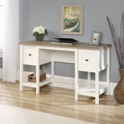 Shaker Style Office Desk In Soft White - Teknik Office