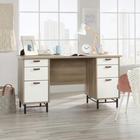 Teknik Avon Oak And White Desk With Leather Handles