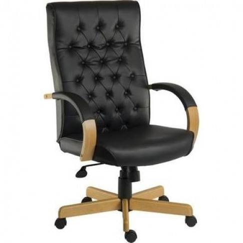 Black Leather Tufted Office Chair - Teknik Office Wa...