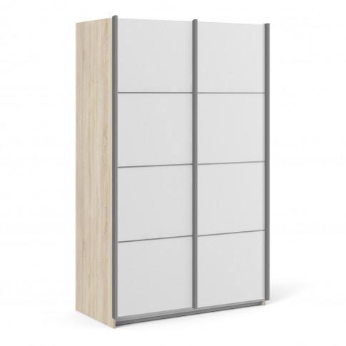 Verona Oak And White 2 Door Sliding Wardrobe - 120cm