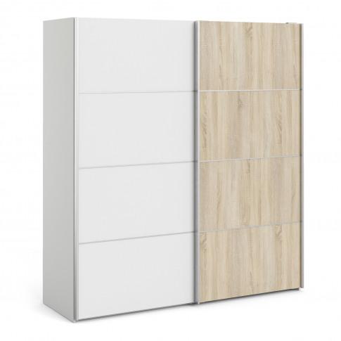 Verona Oak And White 2 Door Sliding Wardrobe - 180cm