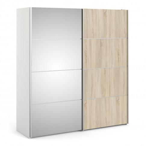 Verona Oak White And Mirror 2 Door Sliding Wardrobe ...