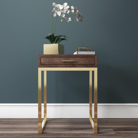 Aubrey Walnut 1 Drawer Bedside Table With Gold Trim ...