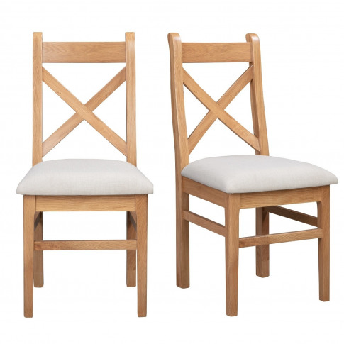 Pair Of Solid Oak Dining Chairs With Fabric Seat - A...