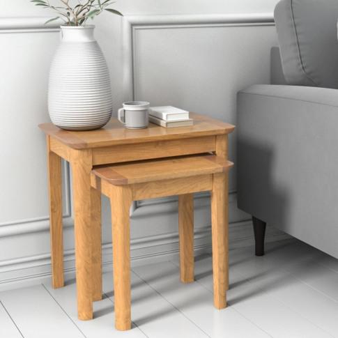 Set Of 2 Solid Oak Side Tables - Adeline