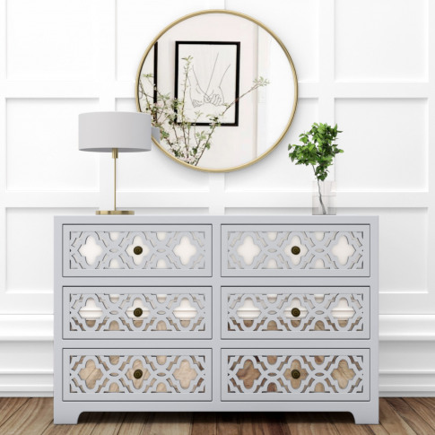Alexis Mirrored 6 Drawer Chest Of Drawers In Pale Gr...