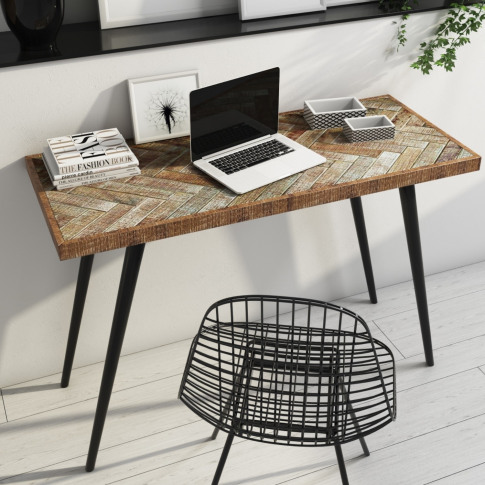 Industrial Office Deskwith Herringbone Solid Mango W...