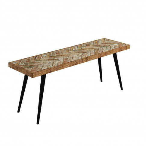 Herringbone Dining Bench In Solid Mango Wood With Me...