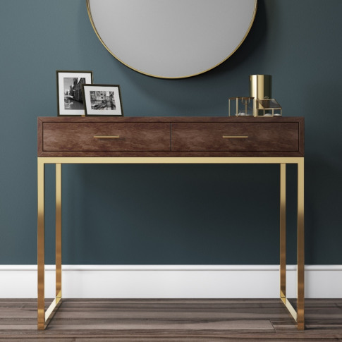 Aubrey Walnut 2 Drawer Dressing Table With Gold Legs