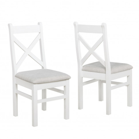 Pair Of Painted White Dining Chairs With Grey Cushio...
