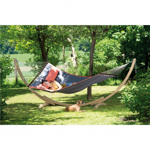 Grey Garden Hammock With Wooden Stand