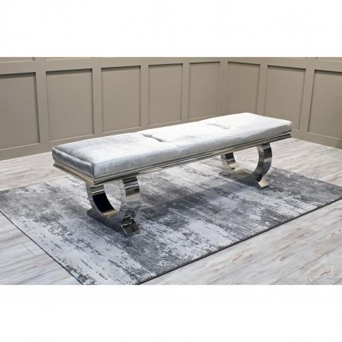 Arianna Dining Bench In Grey Velvet 180cm - Vida Living