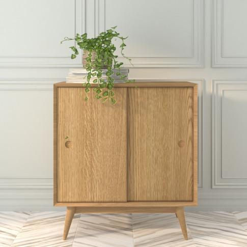 Oak Sideboard With Sliding Doors - Scandi - Briana