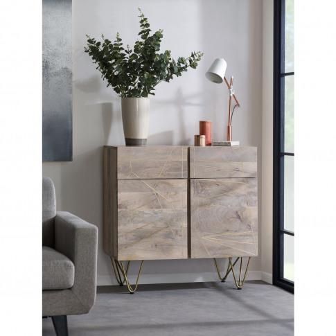 Bengal Light Wood  Gold Inlay 2 Door Medium Sideboard