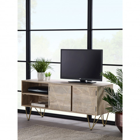 Wooden Tv Unit With Gold Inlay Tv's Upt To 55 - Bengal