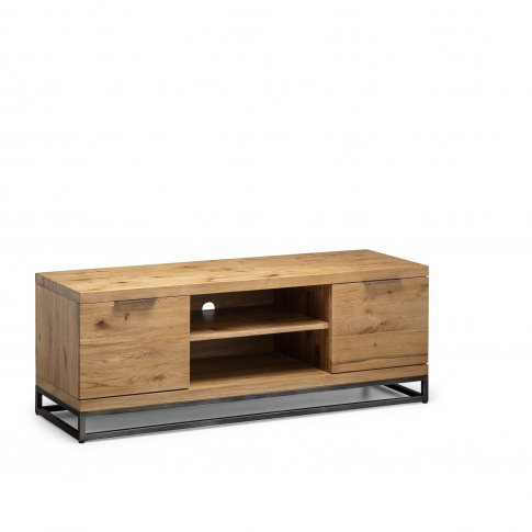 Oak Tv Unit With Metal Legs & Open Shelves Tv's Up T...