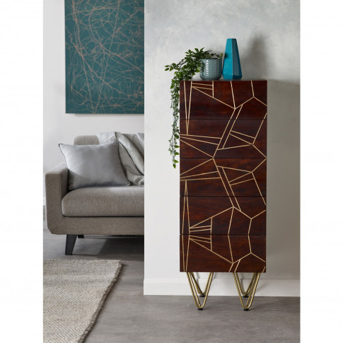 Bengal Dark Wood Gold Inlay Tall Chest Of Drawers