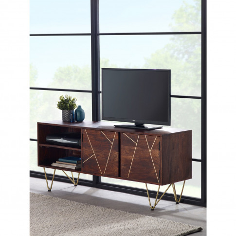 Tv Unit In Dark Wood With Gold Inlay Tv's Up To 55 - Bengal