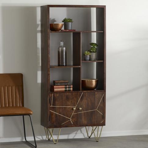 Bengal Inlay Large Display Cabinet 2 Doors And 3 Shelfs