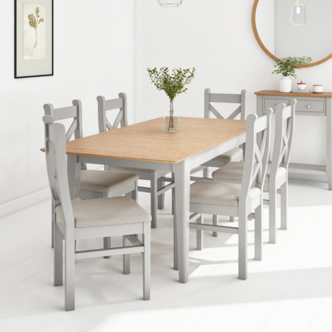 Extendable Dining Table & 6 Chairs In  Fabric & Soli...