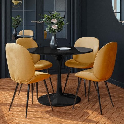 Aura Black Round High Gloss Dining Table With 4 Must...