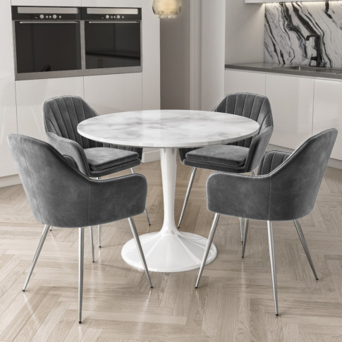 Aura Round White Faux Marble Dining Table With 4 Gre...