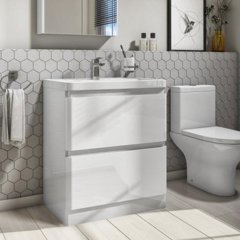 800mm White Gloss Floorstanding 2 Drawer Vanity Unit...