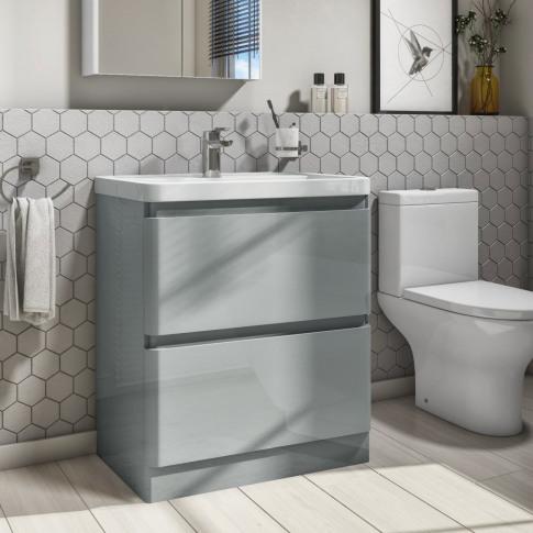 800mm Light Grey Gloss Floorstanding 2 Drawer Vanity...